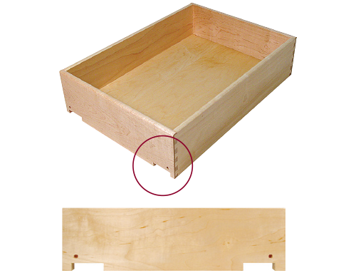 dovetailed drawer box notched for undermount drawer slides