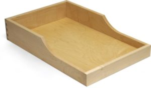 dovetailed drawer box with handle cutout